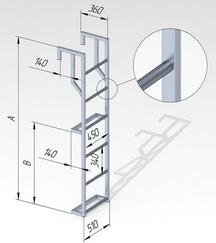 Лестница навесная алюминиевая со стальным кронштейном