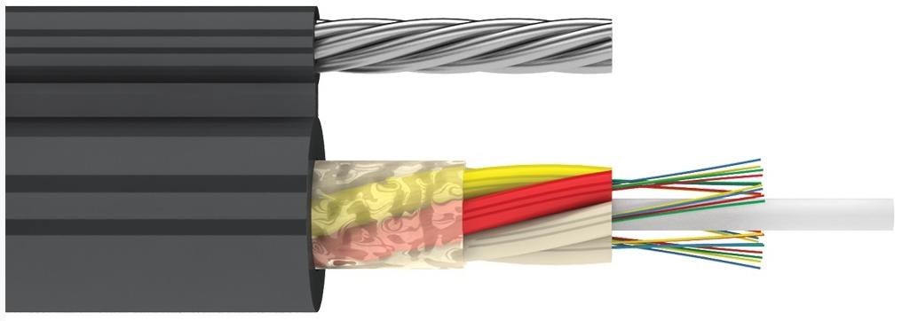 Магистральный оптический подвесной кабель с выносным силовым элементом (ДПОм)