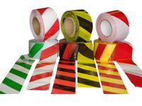Лента оградительная штриховая L-250м х 75мм красно-белая