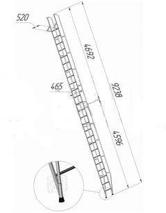 Лестница приставная наклонная алюминиевая ЛПНА-8,2М