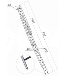 Лестница приставная наклонная алюминиевая ЛПНА-8,2