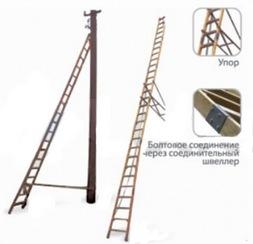 Лестница приставная диэлектрическая для подъёма на опоры ВЛ ЛСПСО