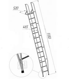 Лестница приставная наклонная алюминиевая ЛПНА-4,2М