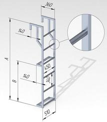 Лестница навесная алюминиевая с алюминиевым крюком